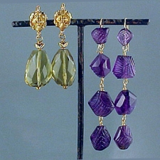 Earrings: Lemon Topaz, Amethyst