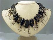 Necklace:Obsidian, Linen, Antique Bronze